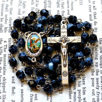 St. Micheal Rosary - Saint Rosary, Catholic Rosary, Faceted Blue and Black Czech Glass Beads