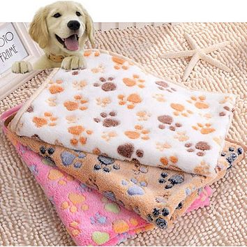 Soft Warm Puppy Blanket Pet Small Dog Bed Mat Cover for Large Dog Towl Paw Print Fleece Winter Pet Cat Products All Season 25