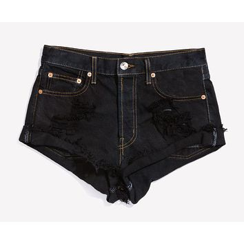 Distressed Jet Black Roller Shorts