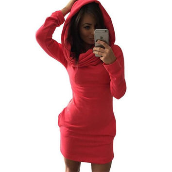 2016 Women Autumn Winter Dress Cotton Long Sleeve Hooded Fashion Casual Women Dress Elegant Sexy Bodycon Bandage Women Clothing