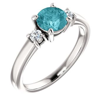14K White Gold 6 mm Round Genuine Blue Zircon & 1/8 CTW Diamond Ring