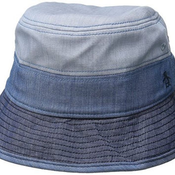 Original Penguin Men's Color Blocked Chambray Bucket Hat, Indigo Denim, Large/X-Large