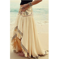 Fashion Patchwork Asymmetrical Casual Skirt Women Summer Maxi Beach Skirts = 1931504772