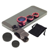 Universal Clip 3 in 1 Fish Eye Wide Angle Macro Fisheye Mobile Phone Lens For iPhone Samsung HTC lenses not camera filters 58mm