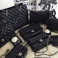 CHANEL Women Shopping Leather Metal Chain Crossbody Shoulder Bag Black HZ