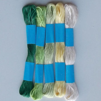 Embroidery Floss Threads, Five Shades of Green
