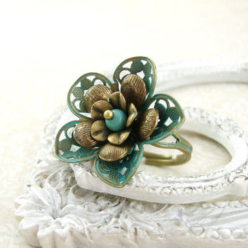 Verdigris and Brass Flower Ring - Jade Shabby Chic Patina Ring - Antiqued Brass Vintage Style Jewelry Neo Victorian Bronze Patina Jewelry