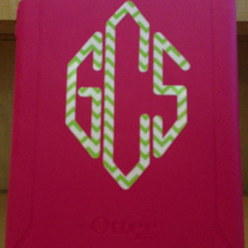 Chevron or polka dot Decal Sticker Monogrammed Vinyl monogram great size for ipad iPad mini or laptop or even car