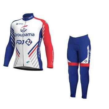 winter fleece 2018 pro team groupama fdj cycling jersey kits warmer Ropa Ciclismo quick-dry MTB bike clothing GEL pad sets