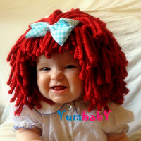 Raggedy ann wig Baby Hat Kids Clothes Raggedy Ann Costume Baby Hats Red Photo Props