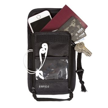 STYLEDOME  Passport Holder Cover Nylon ID Card Travel Neck Pouch