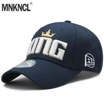 Trendy Winter Jacket MNKNCL High Quality 100% Cotton Outdoor Baseball Cap KING Embroidery Snapback Fashion Sports Hats For Men & Women Caps AT_92_12