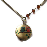 Owl Locket Kawaii Necklace Brass Bicone by KitschBitchJewellery