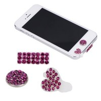 3 IN 1 Bling Crystal CZ Diamond Rhinestone Anti Dust 3.5mm Earphone Ear Jack Plug Cover Cap + Love/Heart Shape Docking Dock Plug Stopper Cover + home sticker for Apple iPhone 5 5G / /iPad mini/iPad 4/Ipod Touch 5 / Nano 7 2012 High Quality Hot Pink/Rose Re
