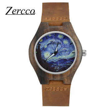 Zeroo Ebony Wooden Watches with Soft Leather Band with Gift Box art hell oil Van Gogh  Starry Night women men creative watch
