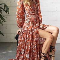 Polychrome Floral Tie Waist Split Long Sleeve Maxi Dress