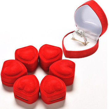 1/10pcs Heart Shape Ring Red Love Heart Storage Box Jewelry Box Display Box HU