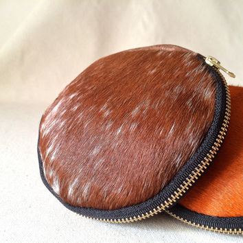 Distressed brown leather clutch, rugged bag, zipper pouch , distressed leather purse, wallet , coin purse, cowhide, hair on hide