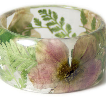 Pink Bracelet- Green Bangle- White Flower Jewelry- Resin Jewelry- Yellow Flower Bangle- Green Resin Bracelet