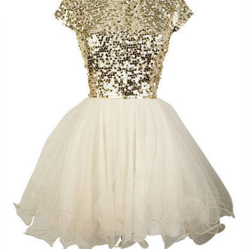 sequin and sleeve dress Cap tulle