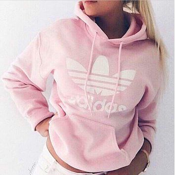 adidas women fashion hooded top sweater pullover sweatshirt