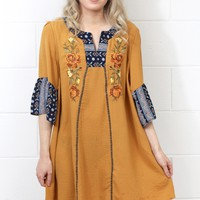 Embroidery + Print Contrast Shift Dress {Mustard}
