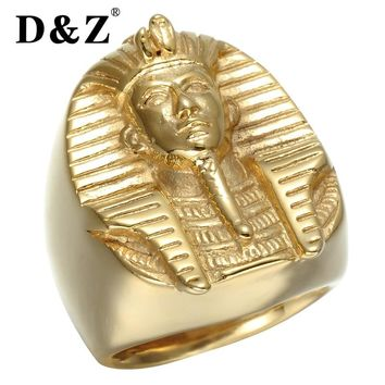 D&Z Punk Gold Color Ancient Egyptian Pharaoh Ring 316L Titanium Stainless Steel  Bling Mysterious Egyptian Pharaoh Rings Jewelry