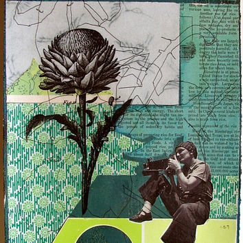"Original collage on paper, 11"" x 7 1/2"", using found imagery, acrylic paint, xerox transfer"