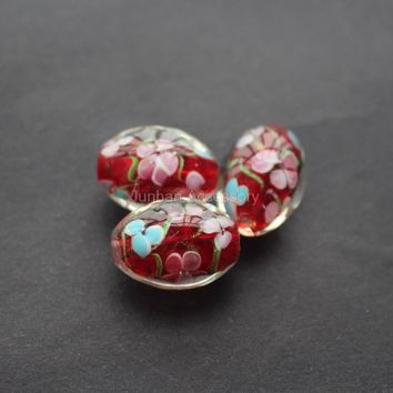 Free shipping 5pcs/Lot Handmade Lampwork Flowers  Beads Oval shape  Red Color Big beads for jewelry making
