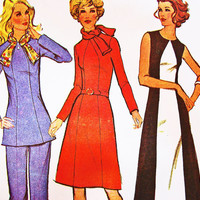 1970s Maxi Dress Pattern with Scarf Misses Half size 18 1/2 Bust 41 Vintage Sewing Pattern, Womens Maxi Dress or Tunic Top Pants Pattern