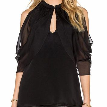 Cutout Shoulder Keyhole Top