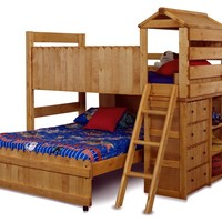 Chelsea Home Twin Over Full L-Shaped Bunk Bed with Ladder