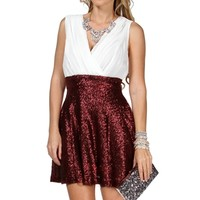 Pre-Order:Erin-Ivory/Burgundy Homecoming Dress