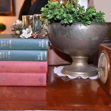 Vintage Books Decorative Books Set of 4 Rustic Books Red and Green Books Christmas Decorations