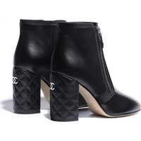 Lambskin Black Short Boots | CHANEL