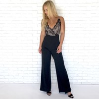 Striking Midnight Black Lace Jumpsuit