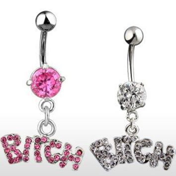 """Belly Ring With Pink Gems and Dangling """"Bitch"""" - 14G - 3/8"""" Bar Length - Sold Individually"""