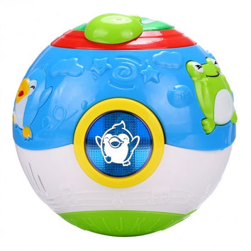 Children Kids Multifunctional Cartoon Music Sound Toy Educational Ball With Light