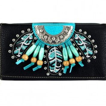 Montana West Turquoise Beaded Concho Collection Wallet MW377-W010