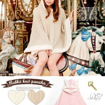 Fluffy deep pile fabric rabbit ear CUTE knitted poncho◆9/19 ships planned