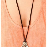 Love Heals - Charm Necklace With Leather Strap