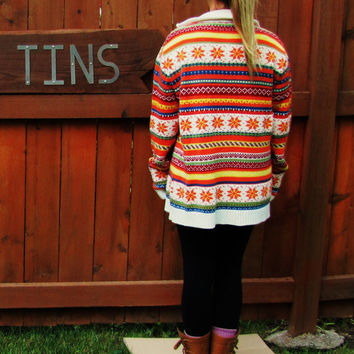 vintage wool blend oversized zip up cardigan bright holiday hipster sweater.