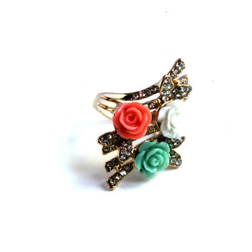 """Smell The Roses"" Gold And Diamond Accent Ring"