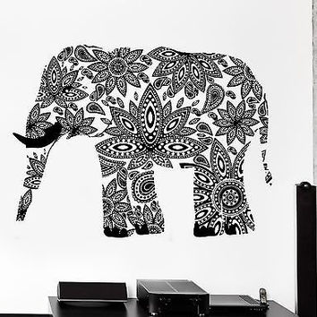 Wall Decal Elephant Indian Animal Cool Ornament Mural Vinyl Decal (z3328)