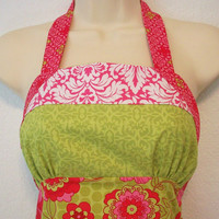 Womens Ruffled Apron / Retro Apron / Green & Pink by Eclectasie