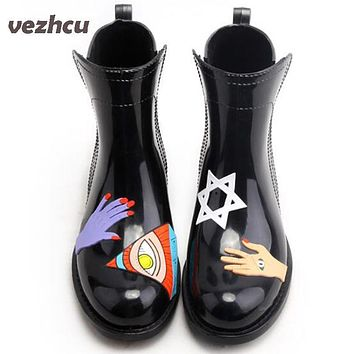 VZEHCU Women's Designer Shoes Waterproof Rain Boots New Graffiti Female Water Lady Shoes Women Ankle Boots Plus Size 35-40 bd39