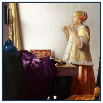 Woman with a Pearl Necklace by Johannes Vermeer Counted Cross Stitch or Counted Needlepoint Pattern