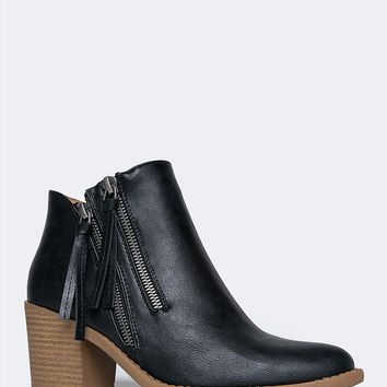 Low Heel Zip-Up Western Bootie