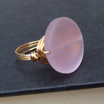 Pink Sea Glass Ring:  24K Gold Wire Wrapped Blush Rose Beach Jewelry, Bold Statement Ring, Size 7