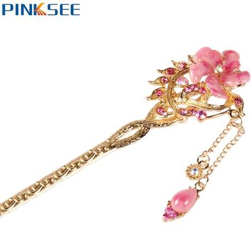 Beach Fashion Hair Jewelry Bohemian Crystal Flower Hairpin Vertical Clip Hair Sticks For Women Bridal Headwear 6 Colors